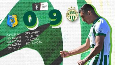 A Ferencváros kiütötte Hatvant, Uzuni hat gólt lőtt