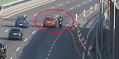 Elképesztő motoros balesetet rögzített egy kamera az M0-son, de vajon ki volt a hibás? - videó