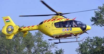 A mentők helikoptere is leszáll a Plázánál