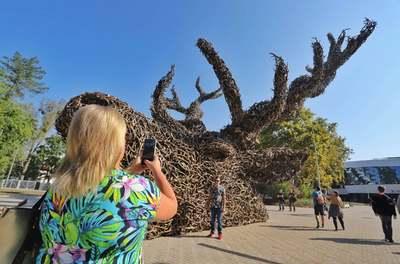 Mindenki csodálattal nézte a Vadászkiállítás monumentális szobrát, a Totemet - videó