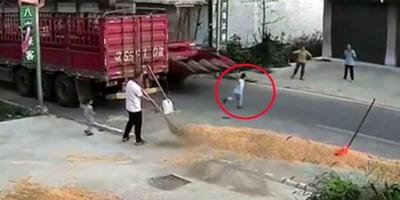 Az anyukájához akart átszaladni a kisfiú, mikor hatalmas sebességgel jött egy kombájn - videó