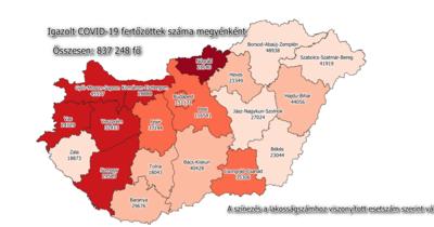 Megérkeztek a legfrissebb megyei koronavírus adatok