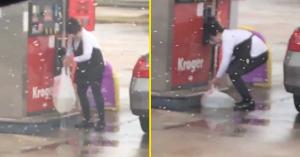Ilyen őrültet még nem láttál: szatyorban vitte a benzint a kútról! – VIDEÓ