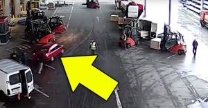 El akart menekülni a lopott autóval, a targoncások állították meg! – VIDEÓ