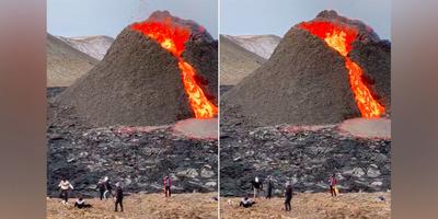 """A világ """"legizlandibb"""" jelenete: haláli nyugalommal röplabdáznak a kitörő vulkán tövében"""