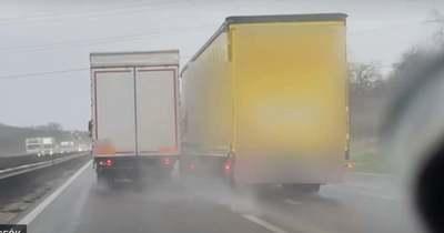 Ráhúzta a kormányt, össze is ért a két jármű az M1-esen (videó)