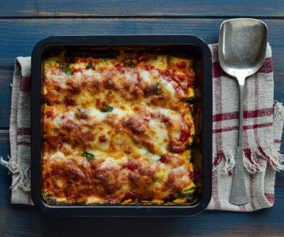 A diétázók kedvence:  Sütőben sült cukkini canelloni spenótos ricottával