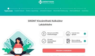 Percek alatt kideríthető a felvehető lakáshitel minden részlete a Gránit Bank online kalkulátorával