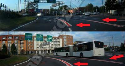 Piros felfestések segítik a közlekedést a győri Árkád-körforgalomban – fotó