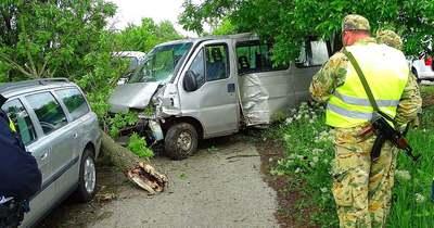 Kidöntötte a fát a nekicsapódó kisbusz – fotók