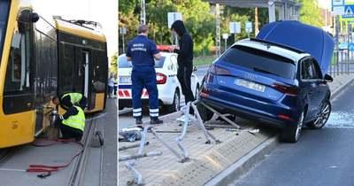 Brutális! Kisiklott egy villamos, repült egy autó Kispesten – Fotó