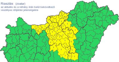 Zivatarok miatt adtak ki riasztást Nógrád megyére