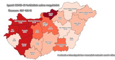 Mutatjuk a legfrissebb megyei koronavírus adatokat
