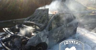 Autó égett az M7-esen Székesfehérvárnál