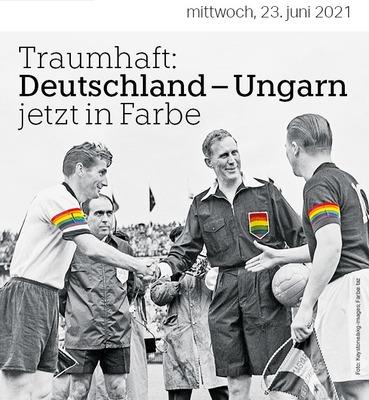 Teljes őrület: Egy német portál szivárványos karszalagban ábrázolja Puskás Ferencet