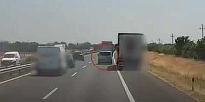 Feltartotta a furgonost egy kamionos az M1-esen, azonnal életveszélyes bosszút állt - videó