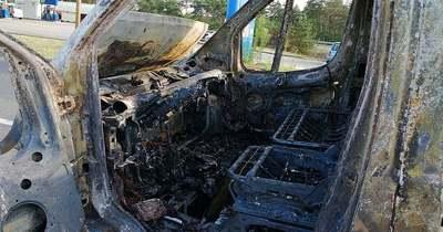 Teljesen kiégett egy kisteherautó az M5-ösön