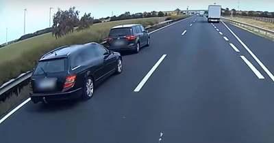 Merci és VW kakaskodott az M1-esen, videóra vették az őrült adok-kapokot