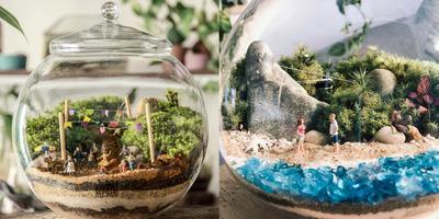 Elképesztő: ezek a művészek önfenntartó ökoszisztémákat helyeznek kristályüvegekbe - Galéria